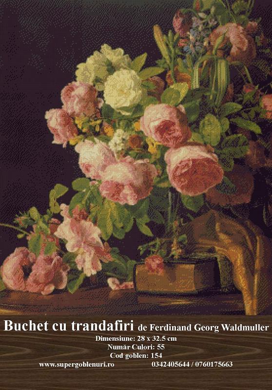 154 - Buchet de trandafiri de Ferdinand Georg Waldmuller